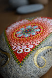 Painted Stone, Heart Mandala Stone, Hand Painted Rock, Garden Stone, Patio Decor