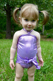 Baby Bathing Suit Metallic Lavender Wrap Around Swimsuit Newborn to 3T Toddler Girls Swimwear - hisOpal Swimwear - 1
