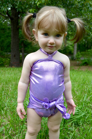 Baby Bathing Suit Metallic Lavender Wrap Around Swimsuit Newborn to 3T Toddler Girls Swimwear