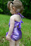 Baby Bathing Suit Metallic Lavender Wrap Around Swimsuit Newborn to 3T Toddler Girls Swimwear - hisOpal Swimwear - 2