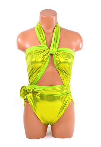 Large Bathing Suit Wrap Around Swimsuit Metallic Lime Green Unique Womens and Teens Swimwear