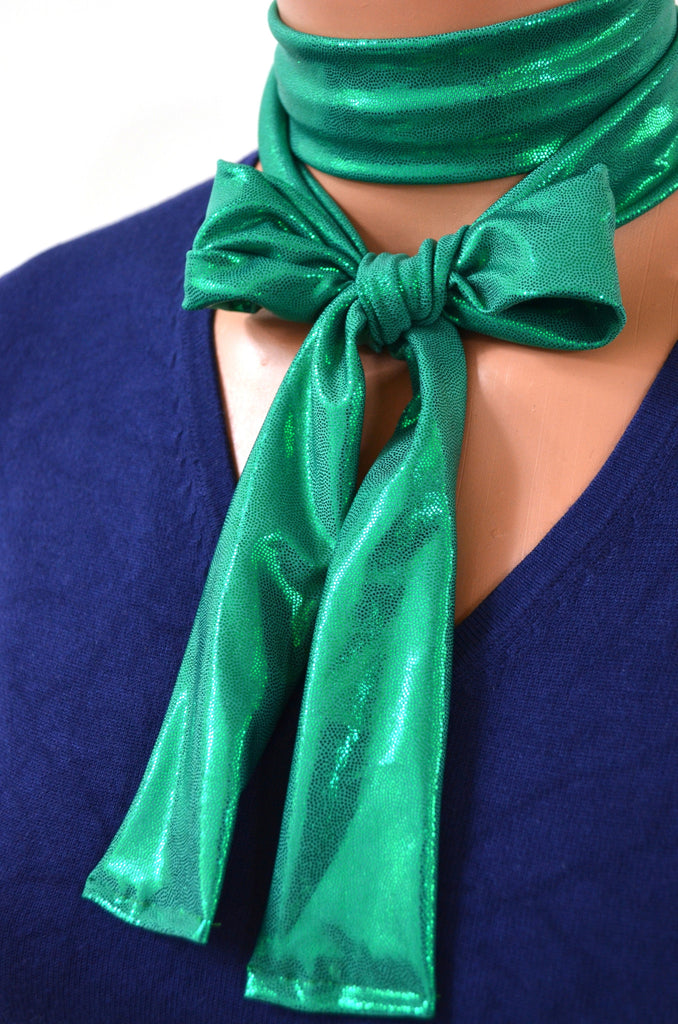 Metallic Green Scarf Women's Neck Tie Lightweight Scarf Green Neck Bow Christmas Necktie Unisex - hisOpal Swimwear - 1