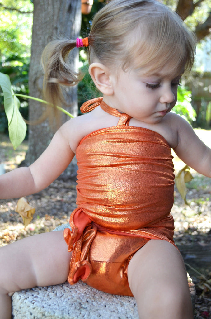 Baby Bathing Suit Metallic Orange Wrap Around Swimsuit Newborn Toddler Girls One Size Swimwear - hisOpal Swimwear - 1
