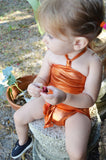 Baby Bathing Suit Metallic Orange Wrap Around Swimsuit Newborn Toddler Girls One Size Swimwear - hisOpal Swimwear - 2