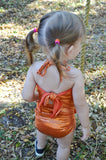 Baby Bathing Suit Metallic Orange Wrap Around Swimsuit Newborn Toddler Girls One Size Swimwear - hisOpal Swimwear - 3