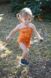 Baby Bathing Suit Metallic Orange Wrap Around Swimsuit Newborn Toddler Girls One Size Swimwear - hisOpal Swimwear - 4