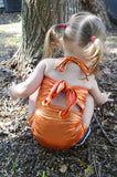 Baby Bathing Suit Metallic Orange Wrap Around Swimsuit Newborn Toddler Girls One Size Swimwear - hisOpal Swimwear - 5