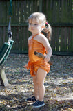 Baby Bathing Suit Metallic Orange Wrap Around Swimsuit Newborn Toddler Girls One Size Swimwear - hisOpal Swimwear - 7