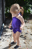 Baby Bathing Suit Metallic Eggplant Purple Wrap Around Swimsuit Newborn Girls Swimwear Tie One - hisOpal Swimwear - 2