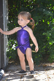 Baby Bathing Suit Metallic Eggplant Purple Wrap Around Swimsuit Newborn Girls Swimwear Tie One - hisOpal Swimwear - 3