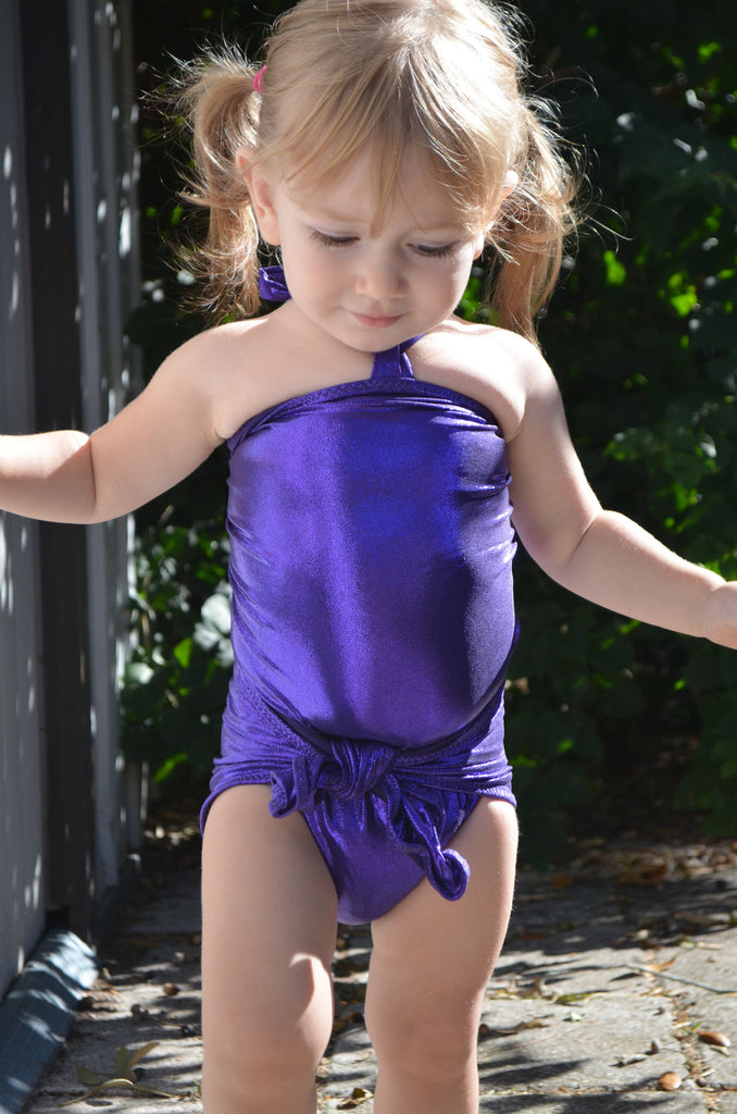 Baby Bathing Suit Metallic Eggplant Purple Wrap Around Swimsuit Newborn Girls Swimwear Tie One - hisOpal Swimwear - 1