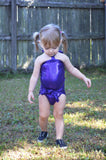 Baby Bathing Suit Metallic Eggplant Purple Wrap Around Swimsuit Newborn Girls Swimwear Tie One - hisOpal Swimwear - 4