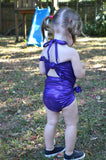 Baby Bathing Suit Metallic Eggplant Purple Wrap Around Swimsuit Newborn Girls Swimwear Tie One - hisOpal Swimwear - 5