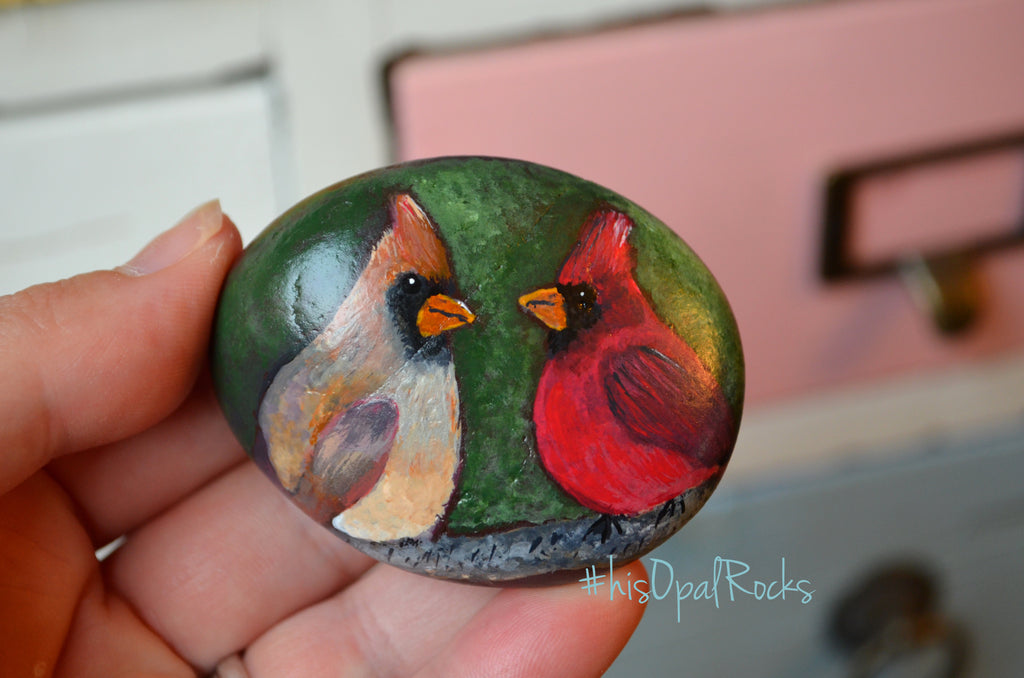 Cardinal, hand painted stone, Male and Female Cardinals, gift for her, Painted Rock