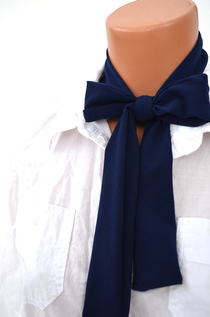 Dark Navy Blue Scarf Neck Tie Lightweight Sacrf Blue Sash Belt Navy Neck Bow Navy Blue Tie - hisOpal Swimwear - 1