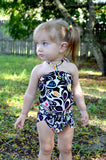 Baby Bathing Suit Black with Neon Flowers Wrap Around Swimsuit Fits Newborn Girls to Toddler 3 - hisOpal Swimwear - 2