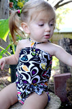 Baby Bathing Suit Black with Neon Flowers Wrap Around Swimsuit Fits Newborn Girls to Toddler 3 - hisOpal Swimwear - 4