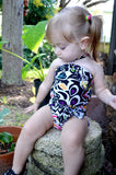 Baby Bathing Suit Black with Neon Flowers Wrap Around Swimsuit Fits Newborn Girls to Toddler 3 - hisOpal Swimwear - 5