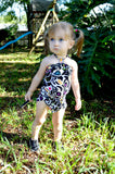 Baby Bathing Suit Black with Neon Flowers Wrap Around Swimsuit Fits Newborn Girls to Toddler 3 - hisOpal Swimwear - 6