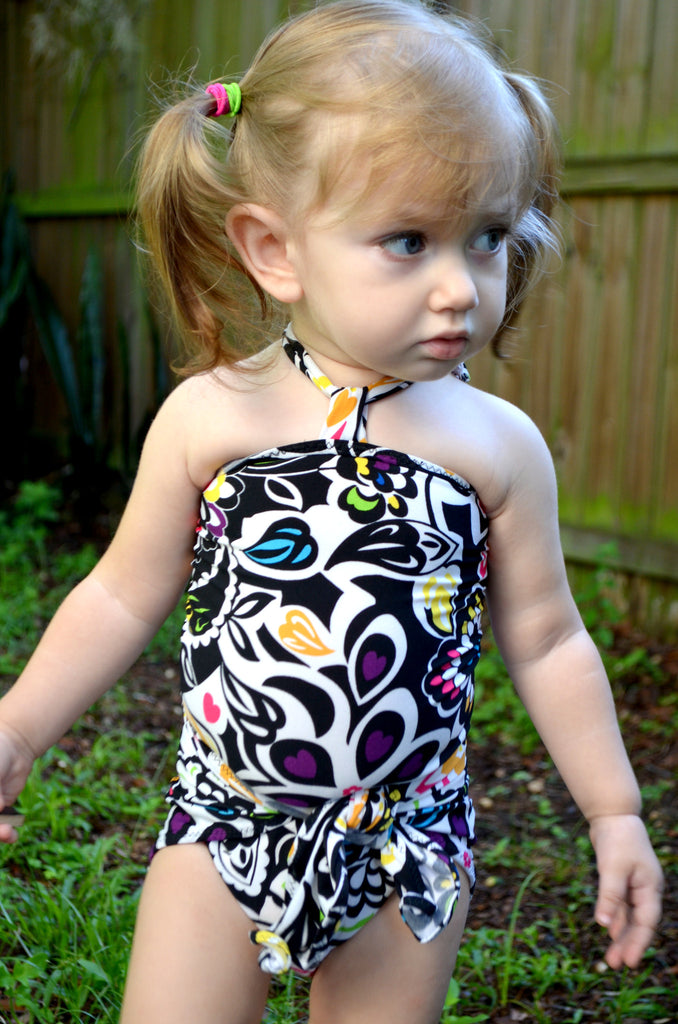 Baby Bathing Suit Black with Neon Flowers Wrap Around Swimsuit Fits Newborn Girls to Toddler 3 - hisOpal Swimwear - 1