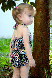 Baby Bathing Suit Black with Neon Flowers Wrap Around Swimsuit Fits Newborn Girls to Toddler 3 - hisOpal Swimwear - 3