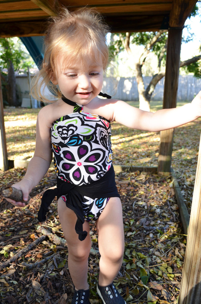 Baby Bathing Suit Neon Flowers w/ Black Wrap Around Swimsuit Fits Newborn Girls to Toddler 3 - hisOpal Swimwear - 1