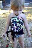 Baby Bathing Suit Neon Flowers w/ Black Wrap Around Swimsuit Fits Newborn Girls to Toddler 3 - hisOpal Swimwear - 6
