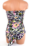Small Bathing Suit Wrap-around Swimsuit Neon Flowers Print Petite Womens Swimwear - hisOpal Swimwear - 6