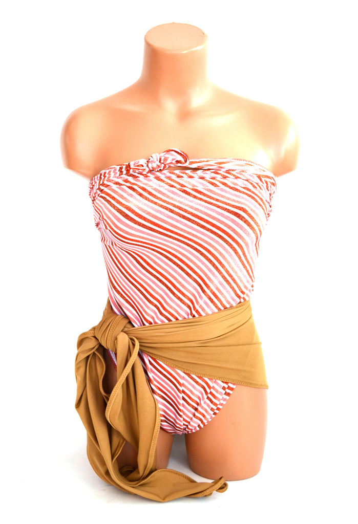 Medium Bathing Suit Glittery Gold Red Stripes with Nutmeg Wrap Around Swimsuit Holiday Womens - hisOpal Swimwear - 1