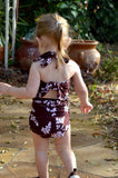Baby Bathing Suit Brown Flower Print Wrap Around Swimsuit fits Newborn Girls to Toddler 3 - hisOpal Swimwear - 2
