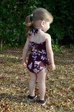 Baby Bathing Suit Brown Flower Print Wrap Around Swimsuit fits Newborn Girls to Toddler 3 - hisOpal Swimwear - 7