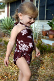 Baby Bathing Suit Brown Flower Print Wrap Around Swimsuit fits Newborn Girls to Toddler 3 - hisOpal Swimwear - 4