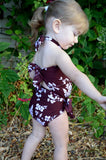 Baby Bathing Suit Brown Flower Print Wrap Around Swimsuit fits Newborn Girls to Toddler 3 - hisOpal Swimwear - 5