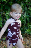 Baby Bathing Suit Brown Flower Print Wrap Around Swimsuit fits Newborn Girls to Toddler 3 - hisOpal Swimwear - 1