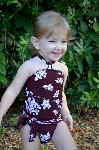 Baby Bathing Suit Brown Flower Print Wrap Around Swimsuit fits Newborn Girls to Toddler 3