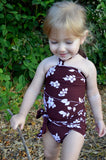 Baby Bathing Suit Brown Flower Print Wrap Around Swimsuit fits Newborn Girls to Toddler 3 - hisOpal Swimwear - 6