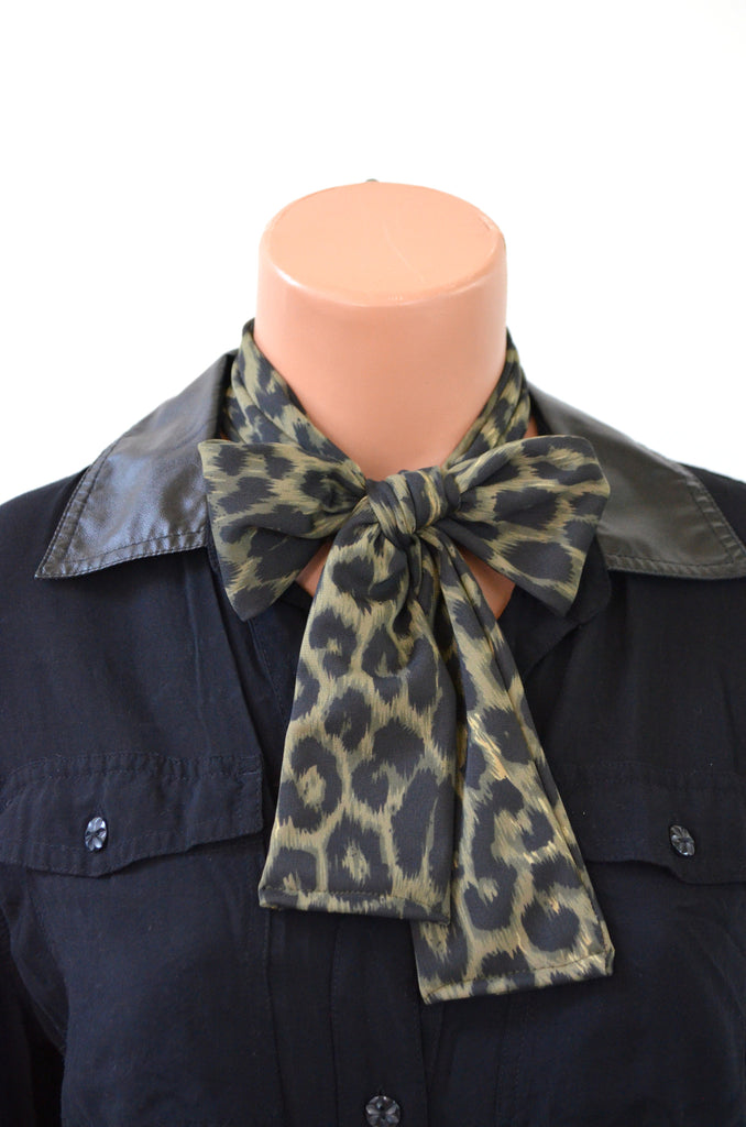 Necktie Olive Green Cheetah Print Animal Print Bow Lightweight Scarf Back to School Ascot Neck Tie - hisOpal Swimwear - 1