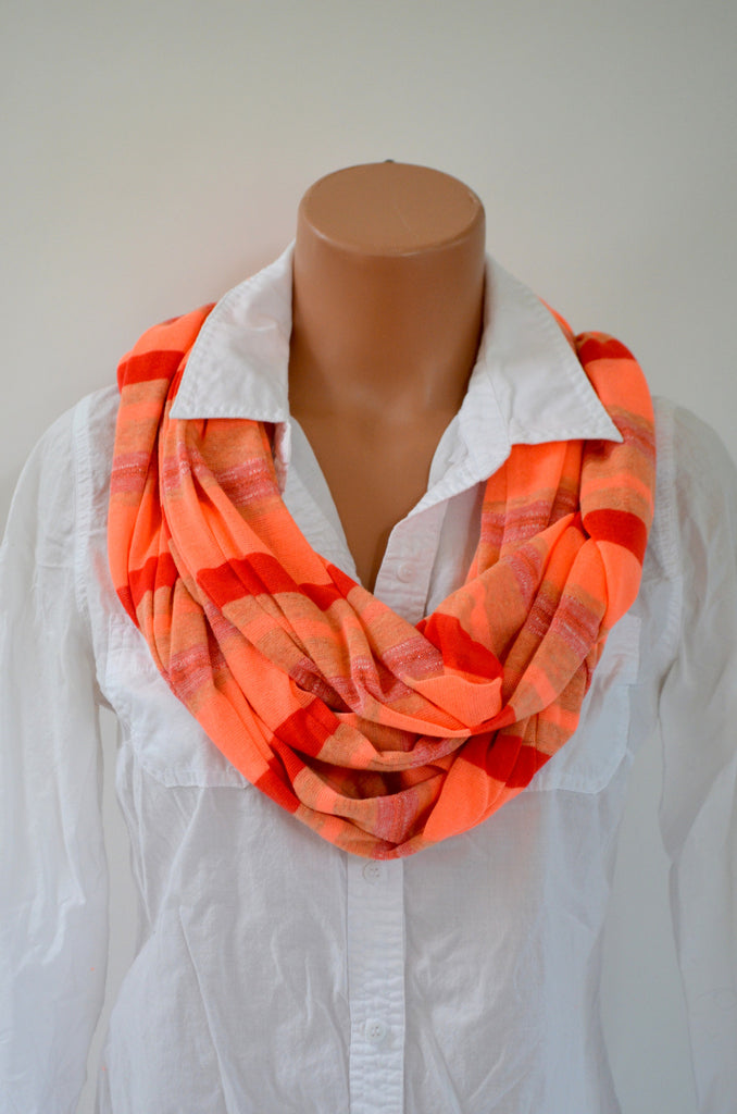 Scarf Neon Orange Thin Sweater Scarf Infinity Scarf Neck Warmer Extra Long Unisex Peach Striped - hisOpal Swimwear - 1