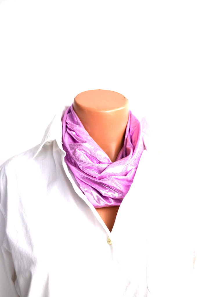 Metallic Baby Pink Infinity Scarf Lightweight Layering Fashion Piece Womens Christmas Ascot - hisOpal Swimwear - 1