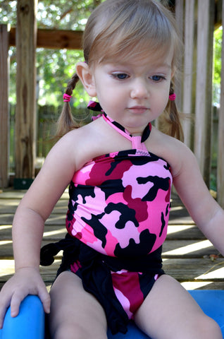 Baby Bathing Suit Pink Camouflage and Classic Black Wrap Around Swimsuit Infant Swimwear