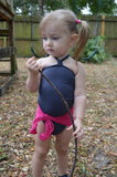 Baby Bathing Suit Pink and Grey Wrap Around Swimsuit Fits Newborn Girls to 3 Toddler - hisOpal Swimwear - 1
