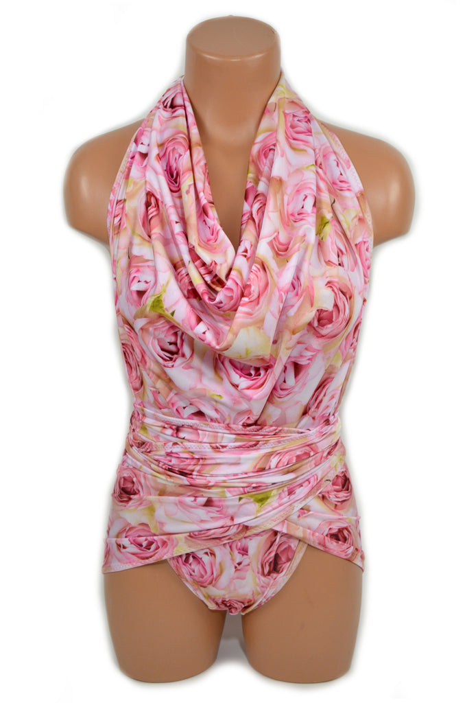 Bathing Suit Pink Roses Large Wrap Around Swimsuit One Wrap Floral Body Suit