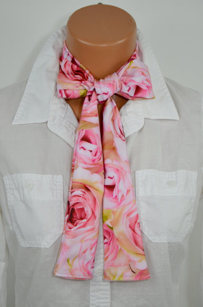 Womens Neck Tie Pink Roses Floral Print Neck Scarf Head Wrap Layering Ascot