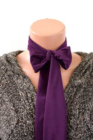 Plum Scarf Purple Neck Tie Lightweight Layering Fashion Accessories Sash Belt Neck Bow