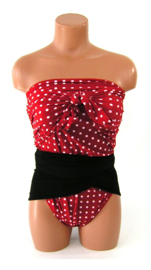 Large Bathing Suit Red Polka Dots and Classic Black Wrap Around Swimsuit Retro Swimwear One Piece - hisOpal Swimwear - 1