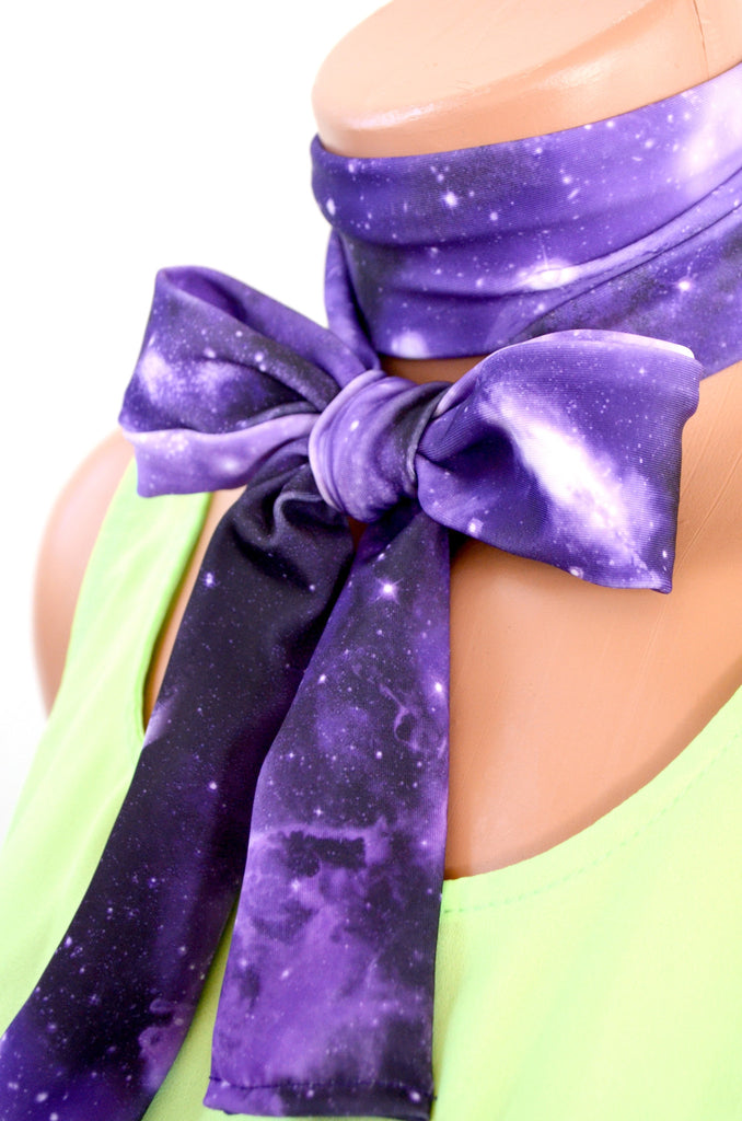 Unisex Neck Tie Purple Galaxy Print Lightweight Scarf Hair Tie Neck Bow Purple Cravat Unisex Ascot - hisOpal Swimwear - 1