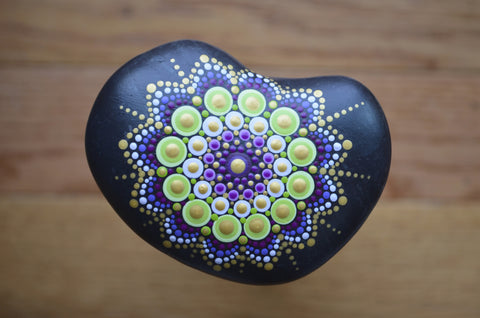 Painted Rock Purple, Mandala Stone, Heart Shaped Rock, Hand Painted Rock Art, Decor Art