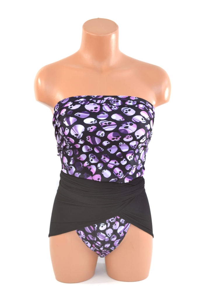 Medium Bathing Suit Wrap Around Swimsuit Purple Skulls w/ Black Punk Rock Edgy Swimwear hisOpal - hisOpal Swimwear - 1