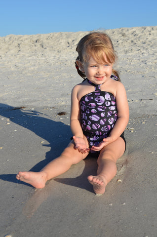 Baby Bathing Suit Purple Skulls and Black Wrap Around Swimsuit Punk Toddler Girls Swimwear