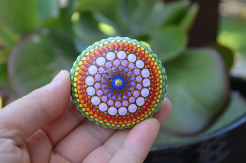 Mandala Stone, Painted Rock, Mandala Rock, Rainbow Dot Art, Hand Painted Rock, Boho Decor